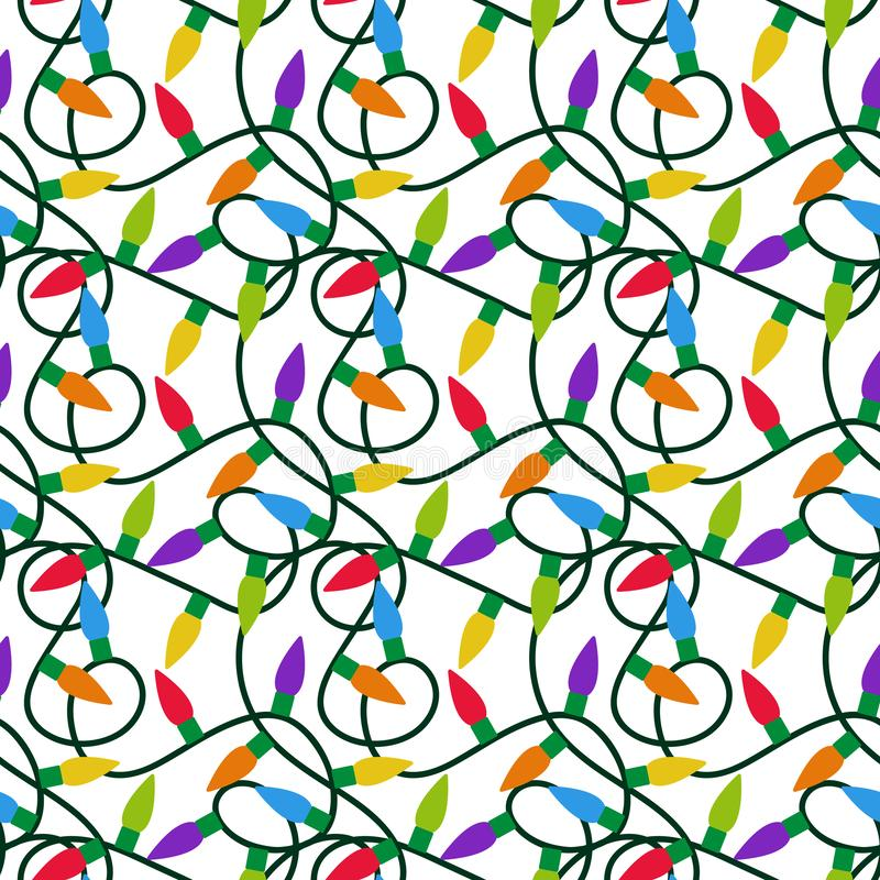 Nahtloses Muster der Weihnachtslichter stock abbildung