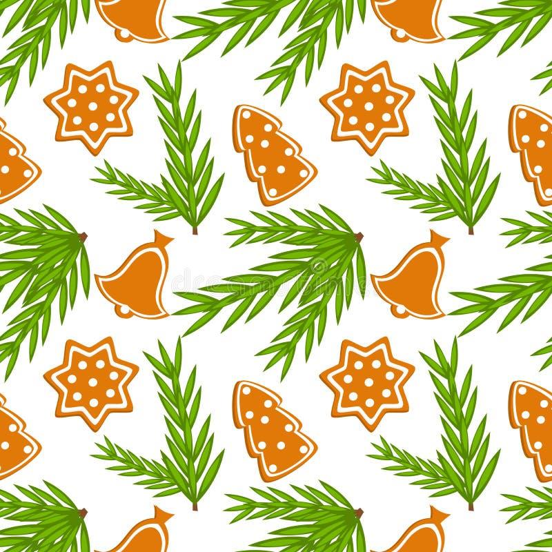 Nahtloses Muster der Weihnachtsplätzchen vektor abbildung