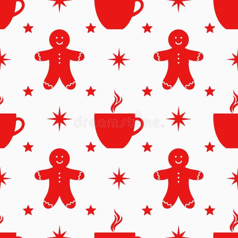 Nahtloses Muster der Weihnachtssymbole lizenzfreie abbildung