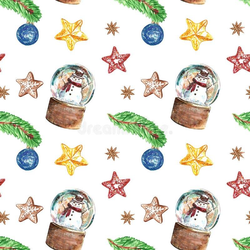 Nahtloses Muster der Weihnachtsweinlese-Art mit Schneemännern in einer Schneekugel, Weihnachtsbaum-Kiefernniederlassung, Verzieru lizenzfreie stockfotos