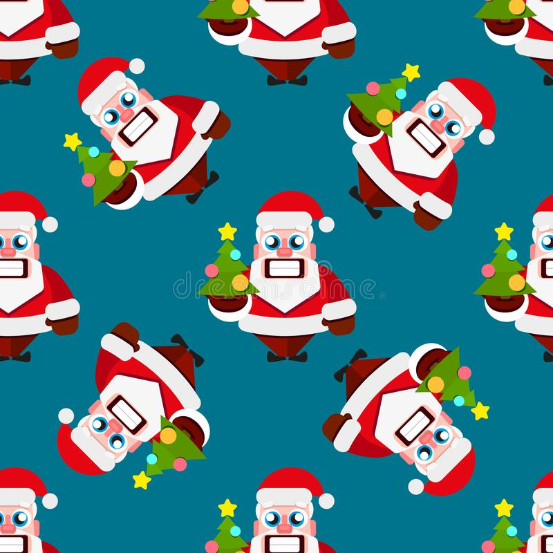 Nahtloses Muster der Weihnachtszeichentrickfilm-figuren mit Santa Claus lizenzfreie abbildung