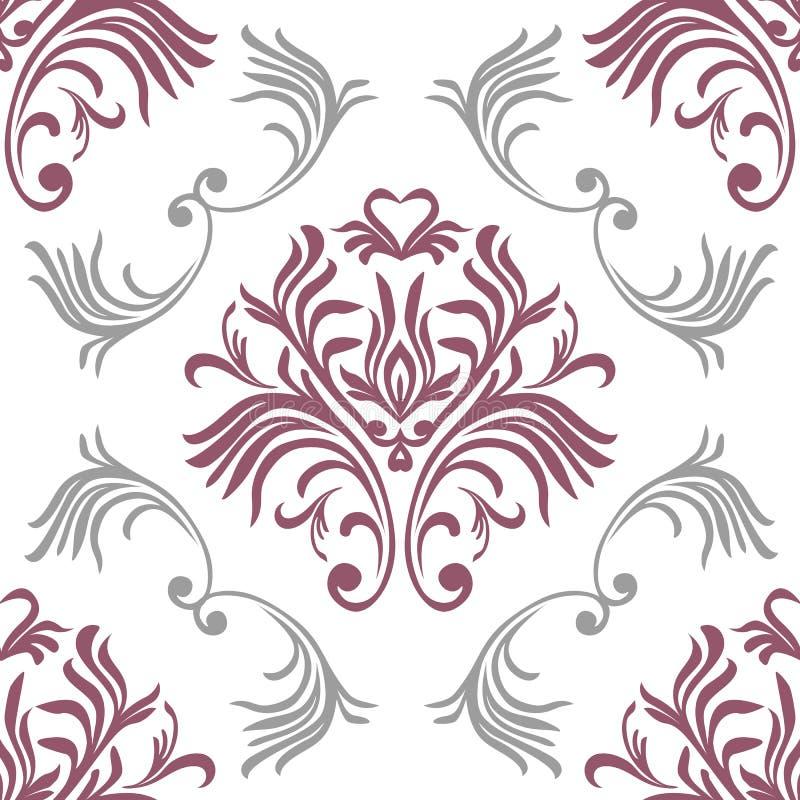 Nahtloses Muster der Weinlese Aufwändige mit Blumentapete Vector Damasthintergrund mit dekorativen Verzierungen und Blumen in der stock abbildung