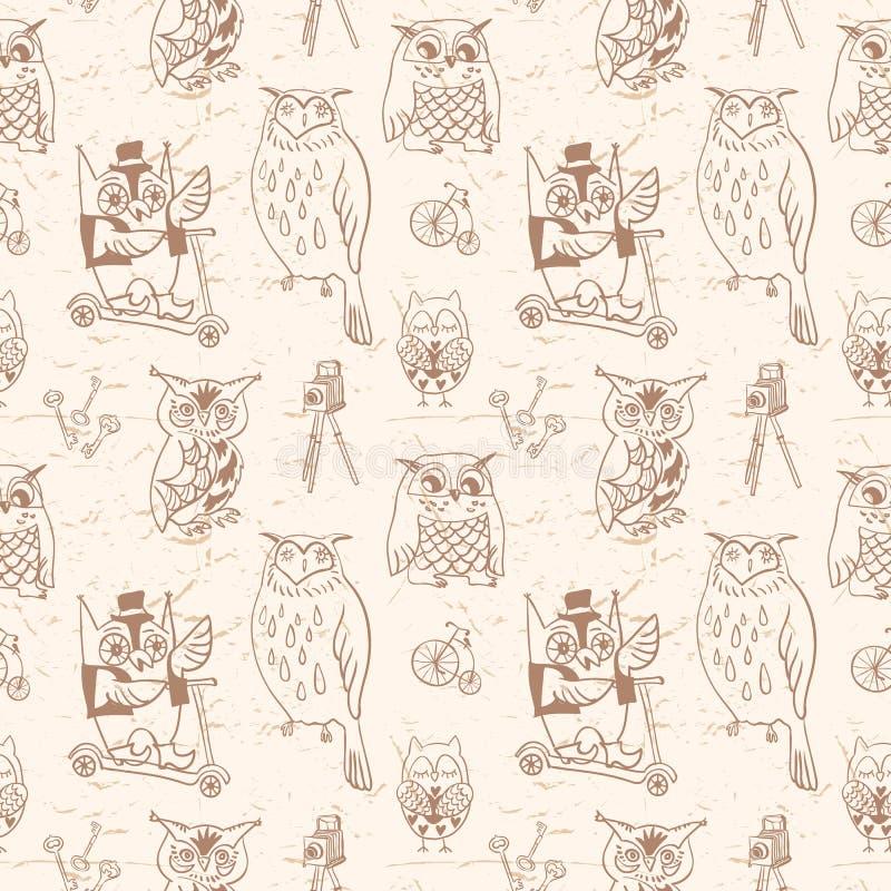 Nahtloses Muster der Weinlese mit Eulen. Heller Hintergrund. Hand gezeichnet lizenzfreie abbildung