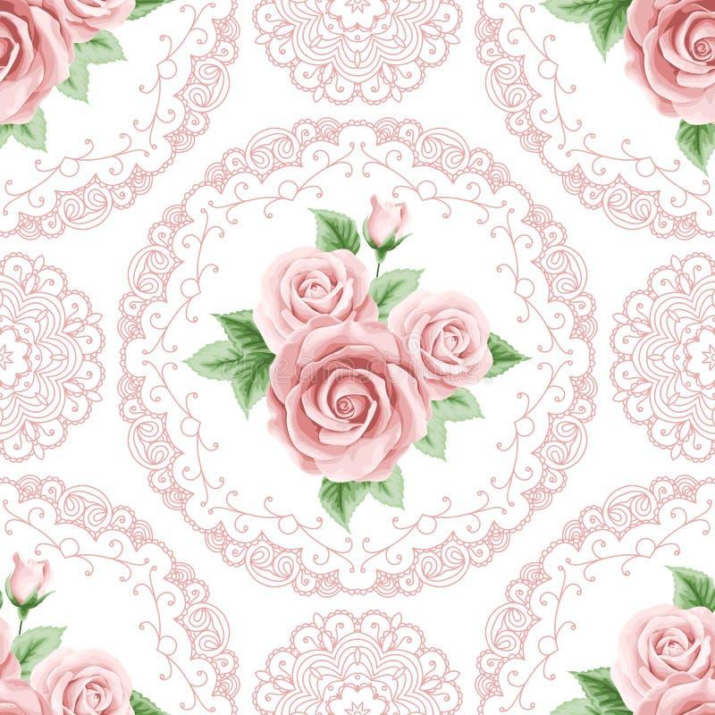Nahtloses Muster der Weinlese mit Rosen lizenzfreie abbildung