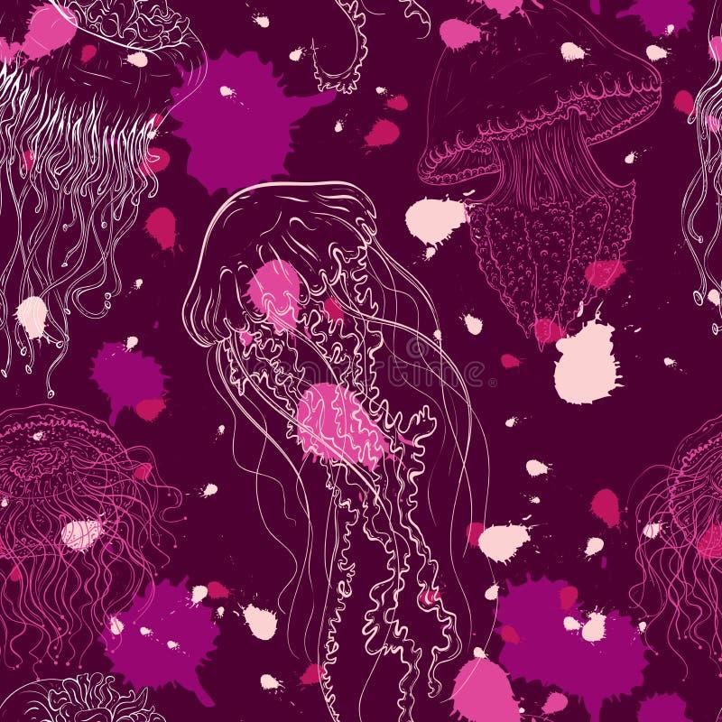 Nahtloses Muster der Weinlese mit Sammlung Quallen Übergeben Sie gezogene Vektorillustration von Meeresfaunas in der Linie Kunsta lizenzfreie abbildung