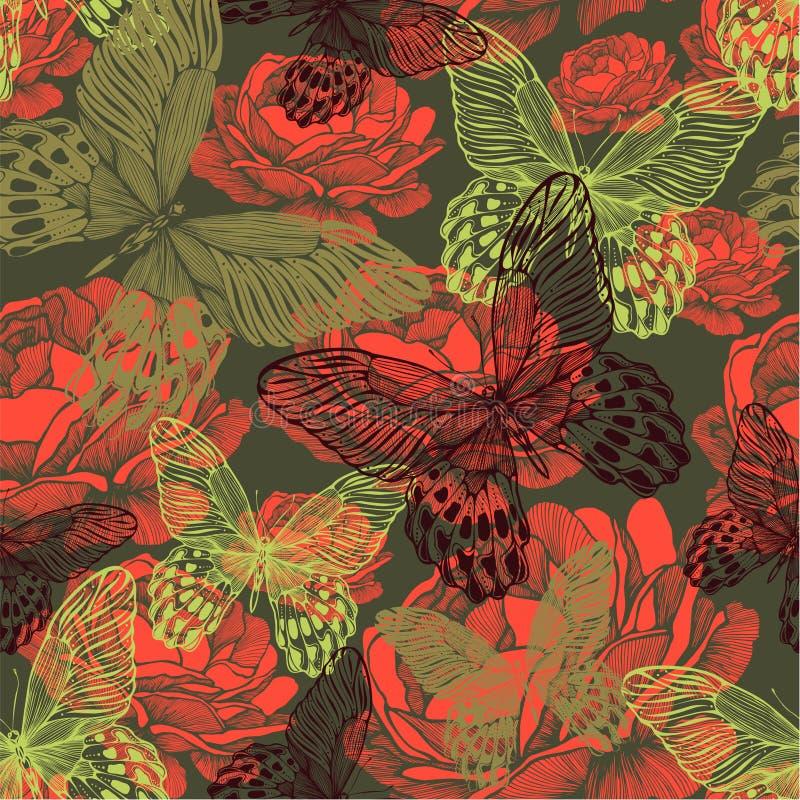 Nahtloses Muster der Weinlese mit Schmetterlingen und Rosen Vektor illu stock abbildung