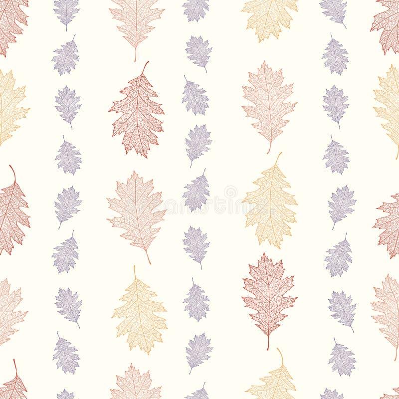 Nahtloses Muster der Weinlese von den Blättern der roten Eiche vereinbarte vertikal auf einem beige Hintergrund stock abbildung