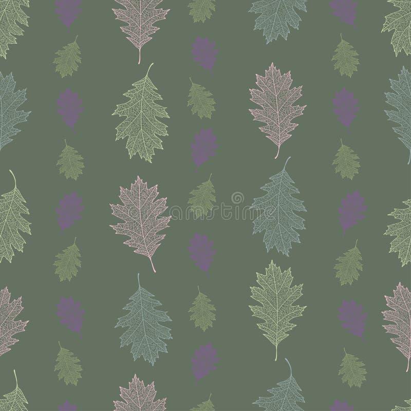 Nahtloses Muster der Weinlese von den Blättern der roten Eiche vereinbarte vertikal auf einem grünen Pastellhintergrund stock abbildung