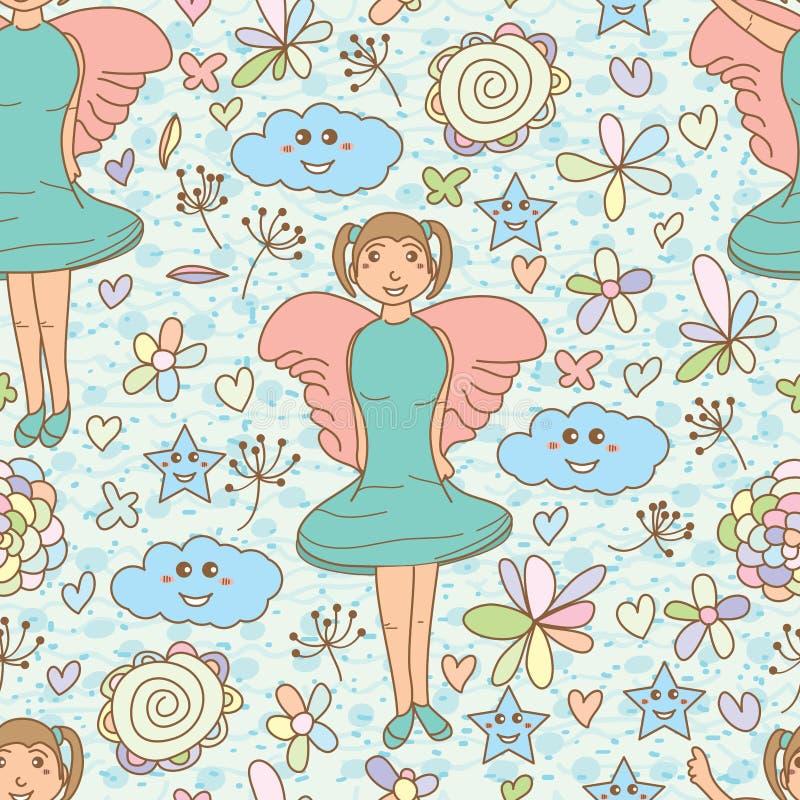 Nahtloses Muster der Winkelmädchen-Sternwolke stock abbildung