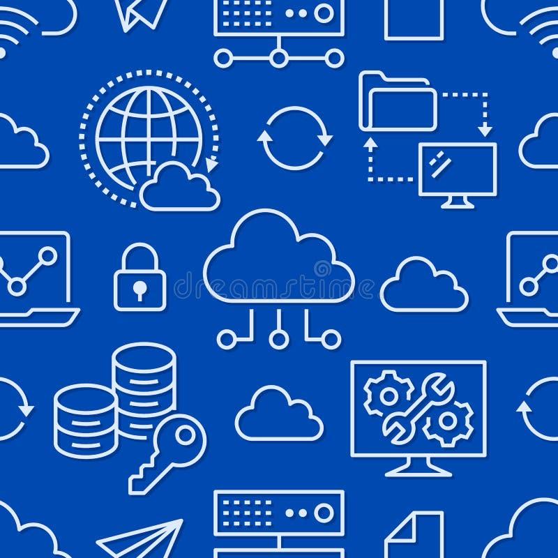 Nahtloses Muster der Wolkendatenspeicherung mit Linie Ikonen Datenbankhintergrund, Informationen, Servermitte, globales Netzwerk stock abbildung