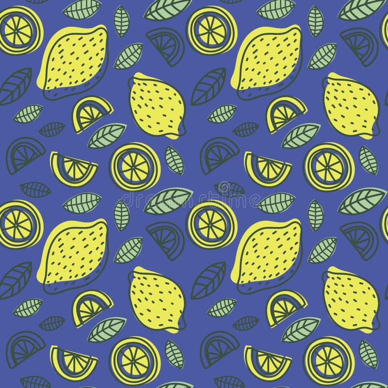 Nahtloses Muster der Zitrone Hand gezeichnete frische tropische Zitrusfrucht lizenzfreie abbildung