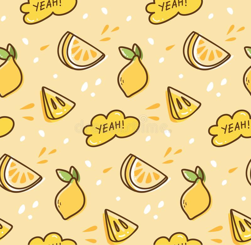 Nahtloses Muster der Zitronenfrucht im kawaii Artvektor stock abbildung