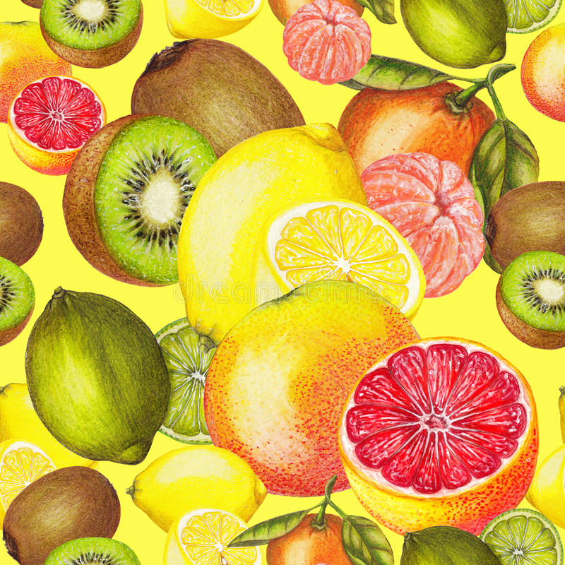 Nahtloses Muster der Zitrusfrucht und der Kiwi auf gelbem Hintergrund lizenzfreie abbildung