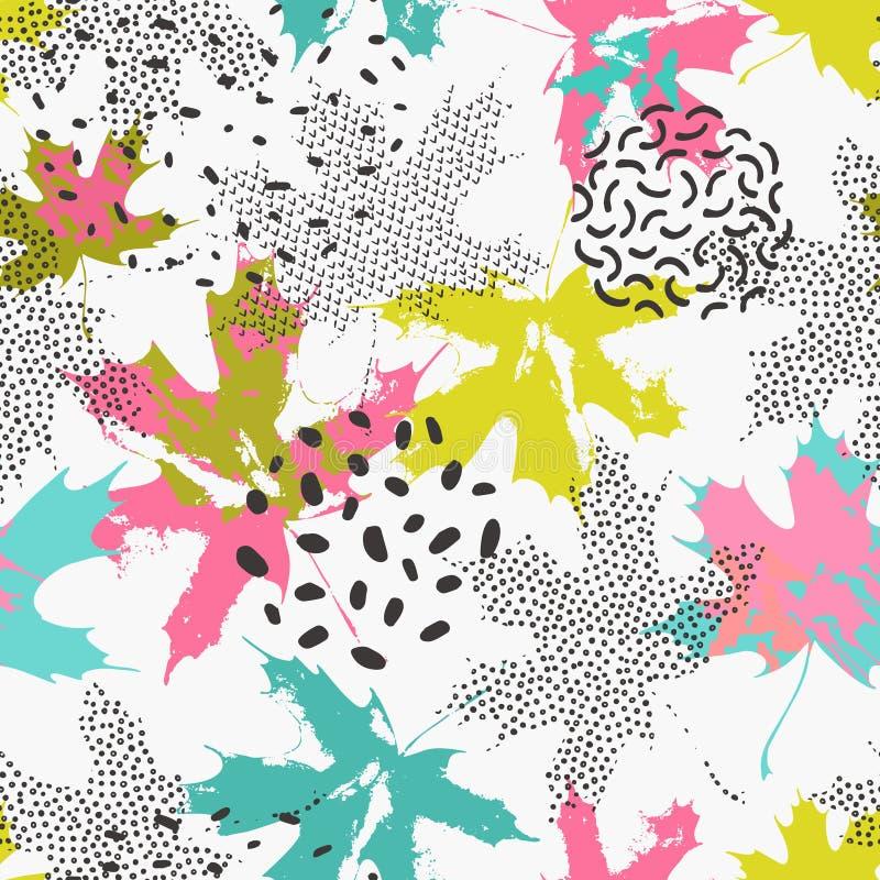 Nahtloses Muster der Zusammenfassungsahornbl?tter in den hellen Farben lizenzfreie abbildung