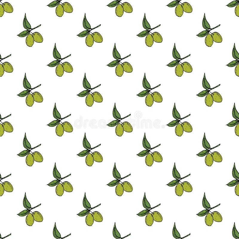 Nahtloses Muster des Ölzweigs Natürlicher Hintergrund Design mit Oliven für Olivenöl- oder Kosmetikprodukte, Vektorillustration stock abbildung