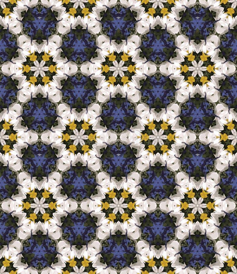 Nahtloses Muster des abstrakten bunten Kaleidoskops Geometrischer Blumenvektorhintergrund Mosaikmandala-Grafikdesignmuster stock abbildung