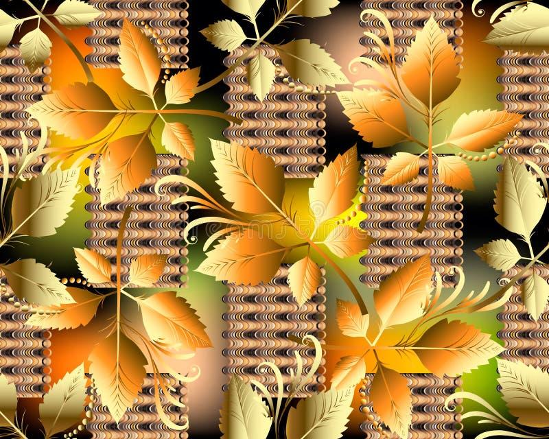 Nahtloses Muster des abstrakten Herbstlaubvektors Modernes helles oder vektor abbildung
