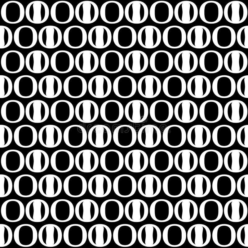 Nahtloses Muster des abstrakten Kreises Schwarzweiss-Hintergrund, De lizenzfreie abbildung