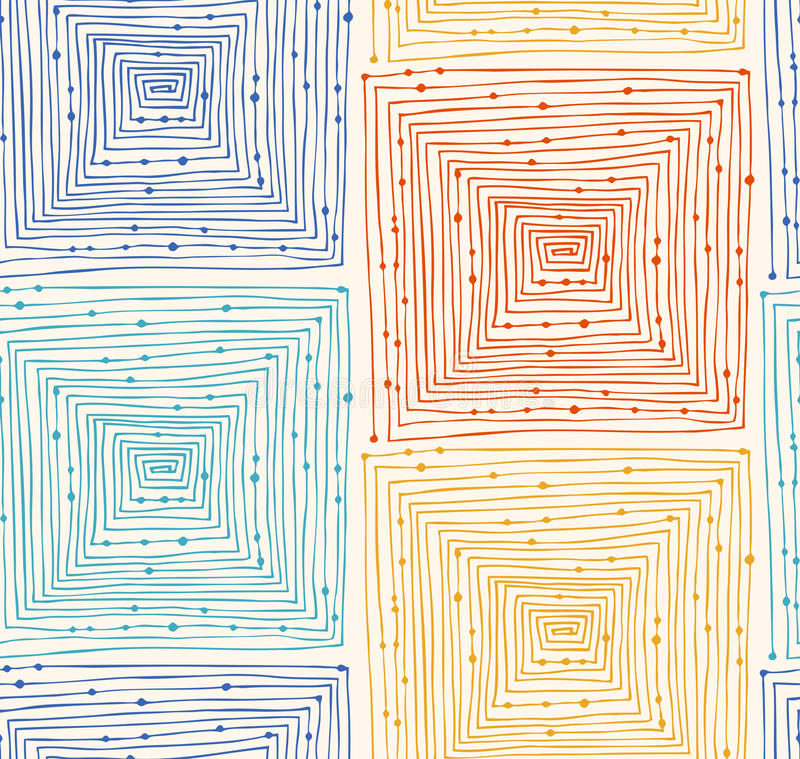 Nahtloses Muster des abstrakten linearen Schmutzes Endloser Hintergrund mit Labyrinthen labyrinth Hand gezeichnete Vektorbeschaff lizenzfreie abbildung