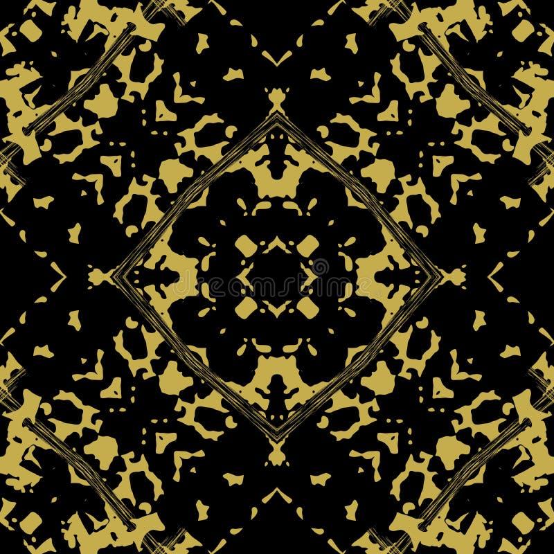 Nahtloses Muster des abstrakten pickeligen Damastvektors Dekoratives spott lizenzfreie abbildung