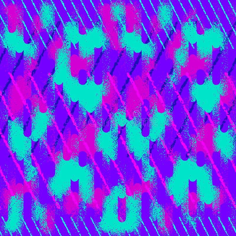 Nahtloses Muster des abstrakten Schmutzes Städtische Straßenbeschaffenheit mit Neonlinien, Anschläge vektor abbildung
