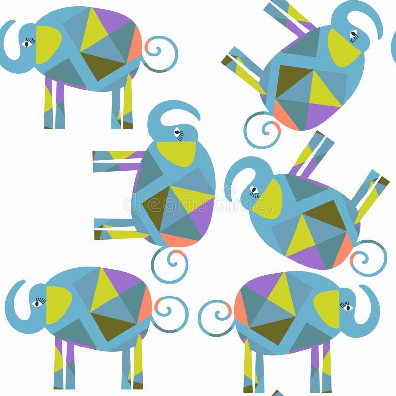 Nahtloses Muster des abstrakten Tierelefant-Vektors Es ist findet lizenzfreie abbildung