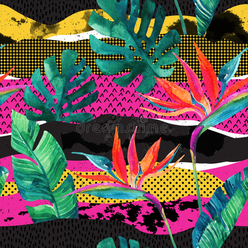 Nahtloses Muster des abstrakten tropischen Sommerdesigns lizenzfreie abbildung