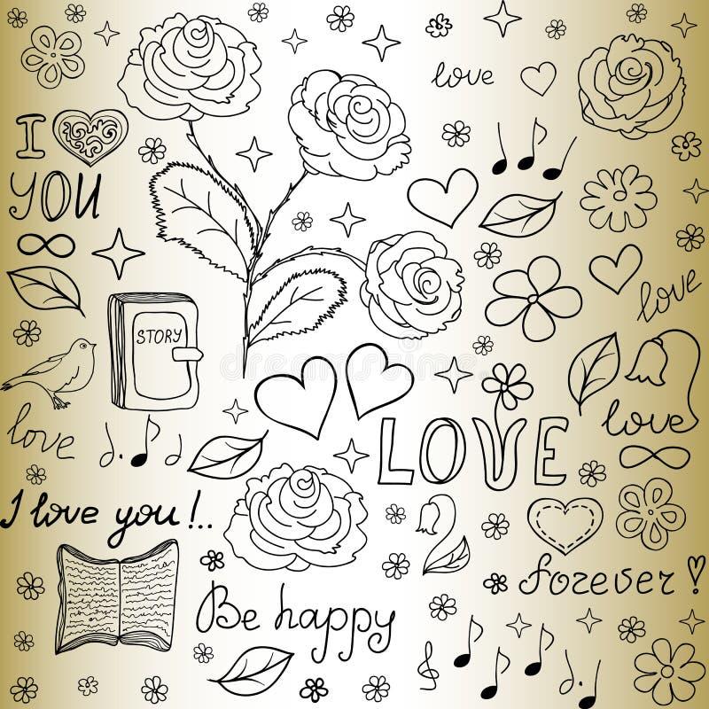 Nahtloses Muster des abstrakten Vektors mit den Wörtern der Liebe, der Rosen, der Bücher, der Blumen und der Herzen stock abbildung