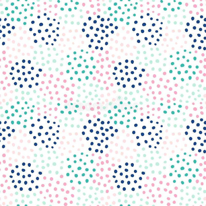 Nahtloses Muster des abstrakten Vektors mit Hand-drawnd runden Formen vektor abbildung