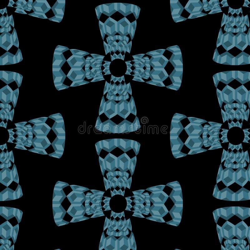 Nahtloses Muster des abstrakten Vektors mit Kreuzen von blauen Würfeln 3d lizenzfreie abbildung