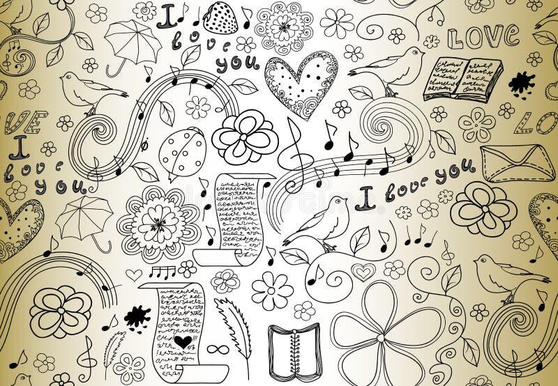 Nahtloses Muster des abstrakten Vektors mit Wörtern der Liebe, der Bücher, der Musikanmerkungen, der Blumen und der Herzen, handg stock abbildung