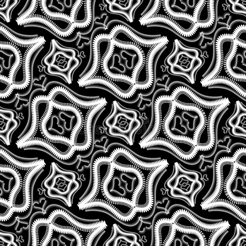 Nahtloses Muster des abstrakten Weinleseschwarzweiss-Vektors Orname lizenzfreie abbildung
