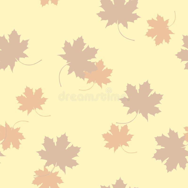Nahtloses Muster des Ahornblattschattenbildes lizenzfreie abbildung