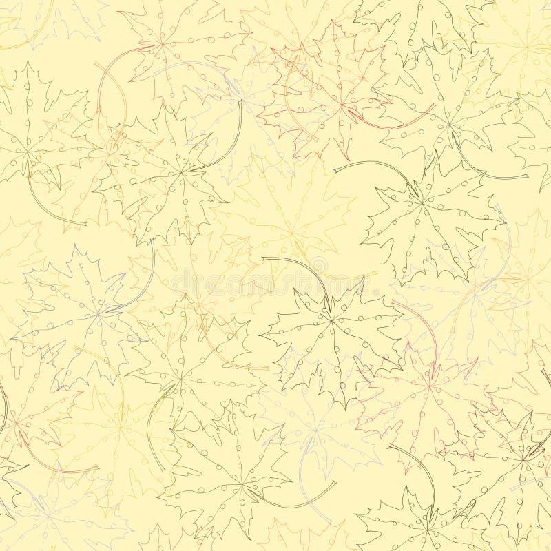 Nahtloses Muster des Ahornblattschattenbildes stock abbildung
