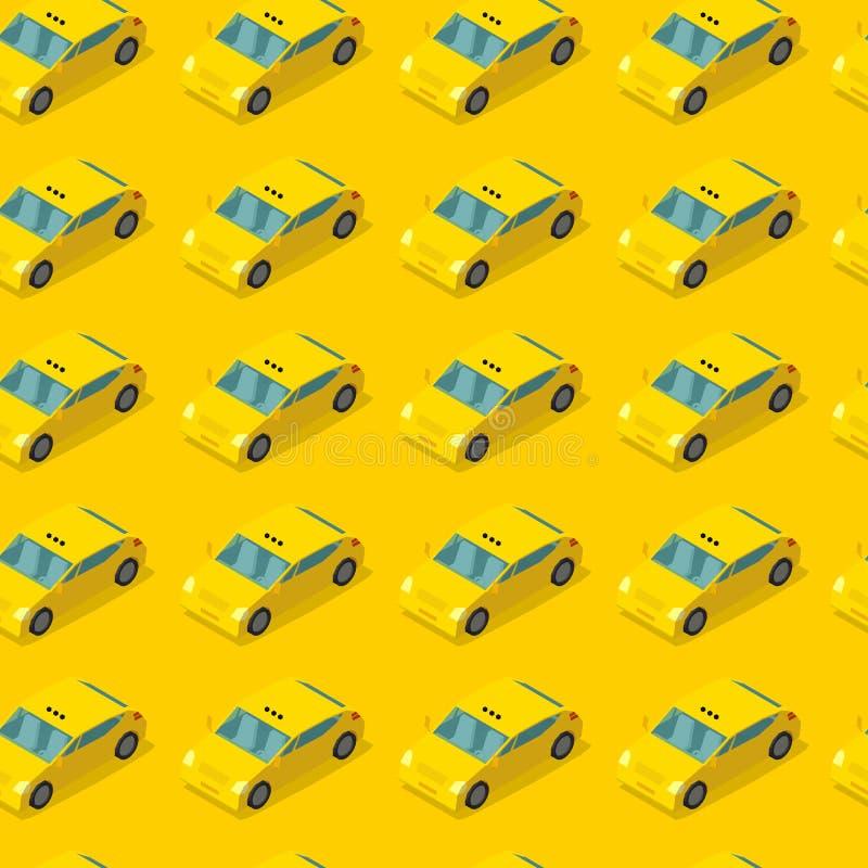 Nahtloses Muster des allgemeinen Taxiautos Fahrerhaus auf gelbem Hintergrund Taxiservicekonzept Auch im corel abgehobenen Betrag stock abbildung