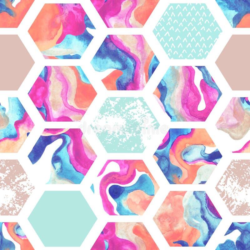 Nahtloses Muster des Aquarellhexagons vektor abbildung