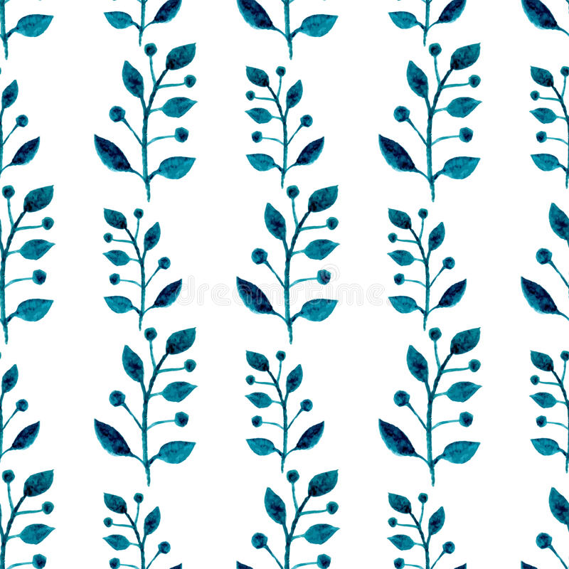 Nahtloses Muster des Aquarells Blumenvektorhandfarbenhintergrund Blaue Zweige, Blätter, Laub auf weißem Hintergrund Für Gewebe wa lizenzfreie abbildung