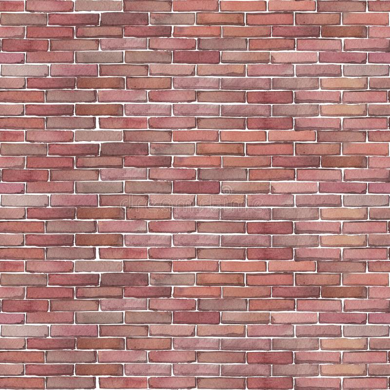 Nahtloses Muster des Aquarells der Wand des roten Backsteins lizenzfreie stockfotografie
