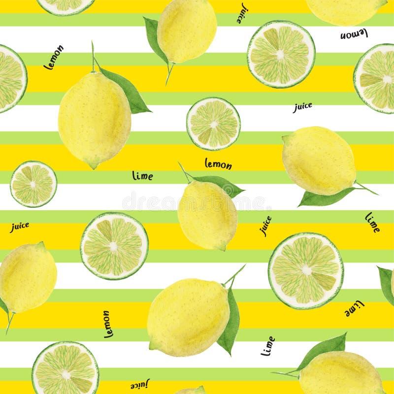 Nahtloses Muster des Aquarells der Zitrone und des Kalkes auf einem gestreiften Hintergrund stock abbildung