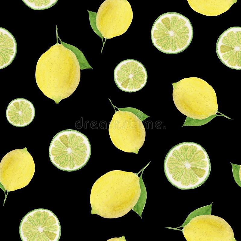 Nahtloses Muster des Aquarells der Zitrone und des Kalkes auf einem schwarzen Hintergrund stock abbildung