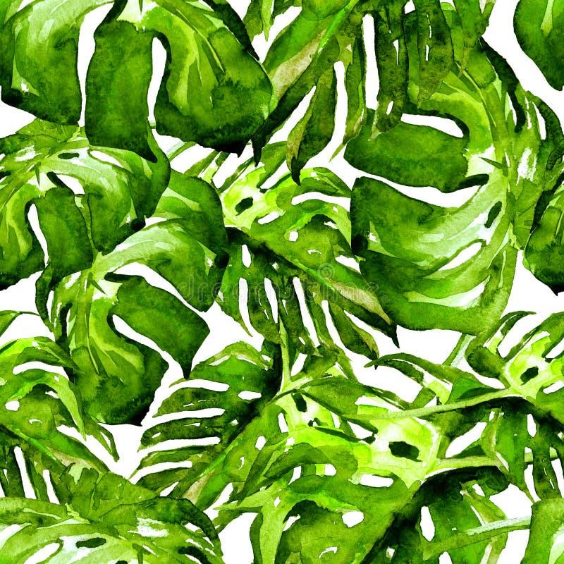 Nahtloses Muster des Aquarells Handgemalte Illustration von tropischen Blättern und von Blumen Tropisches Sommer-Motiv mit Monste stock abbildung