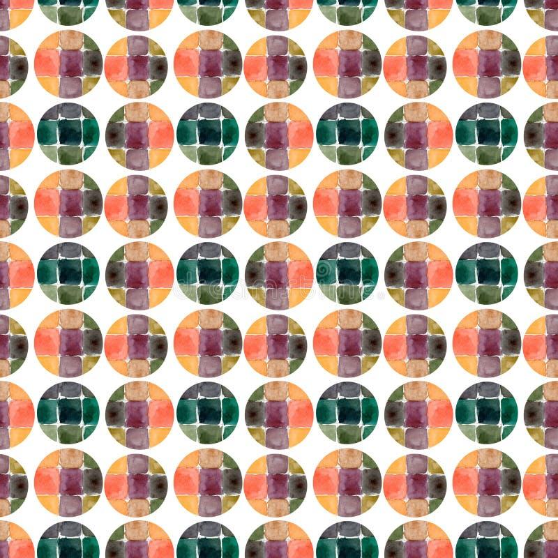 Nahtloses Muster des Aquarells Kreismodehintergrund Kann für Packpapier und Gewebedesign verwendet werden stock abbildung