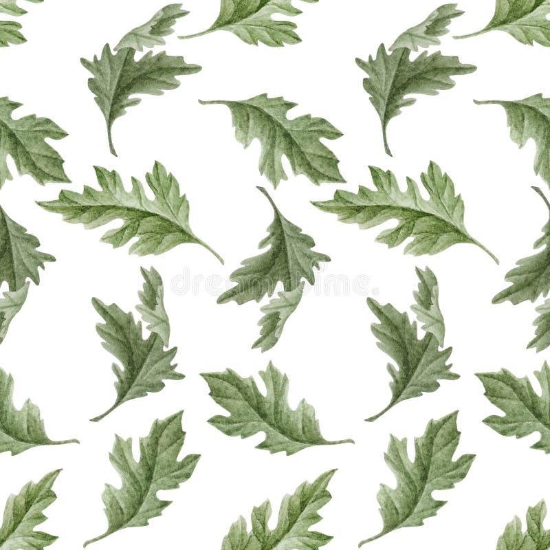 Nahtloses Muster des Aquarells mit Blättern lizenzfreie abbildung