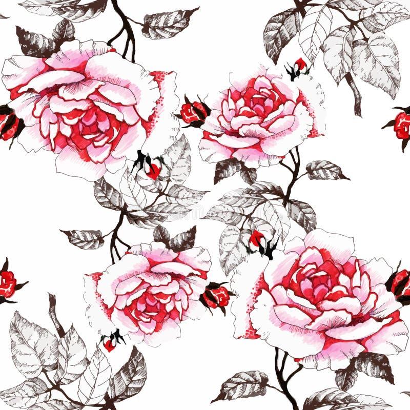 Nahtloses Muster des Aquarells mit bunten Blumen und Blättern auf weißem Hintergrund, Aquarellblumenmuster, Blumen herein lizenzfreie abbildung