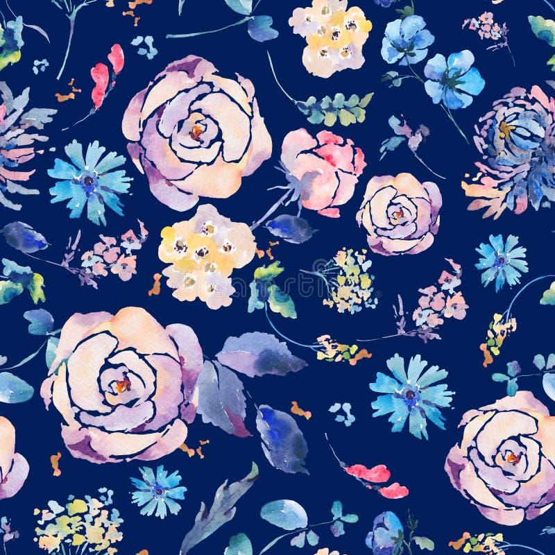 Nahtloses Muster des Aquarells mit Chrysanthemen, Rosen lizenzfreie abbildung