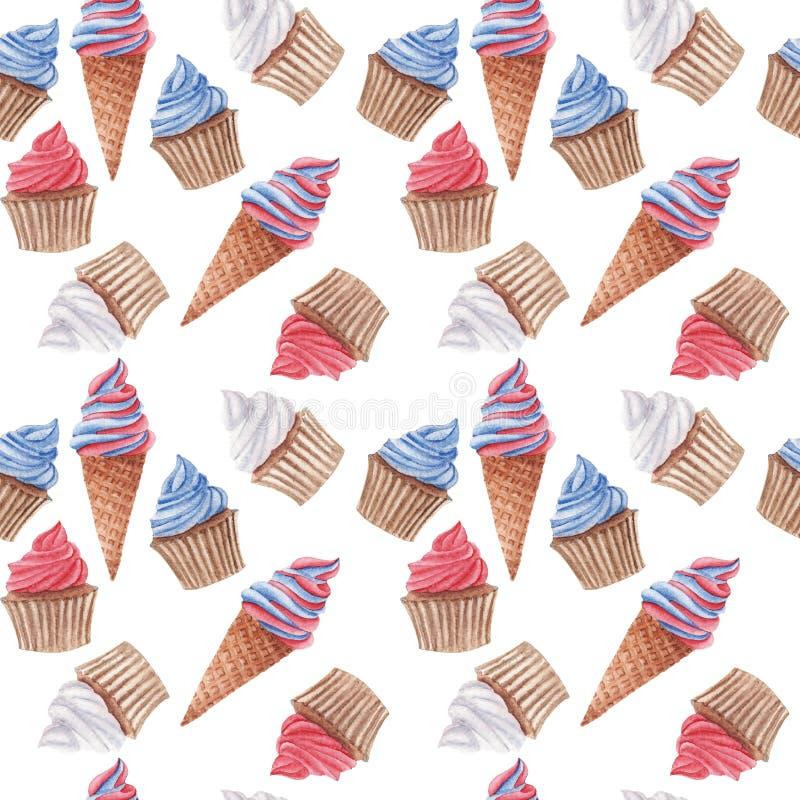 Nahtloses Muster des Aquarells mit den roten, blauen und weißen kleinen Kuchen und Eiscreme stockfoto