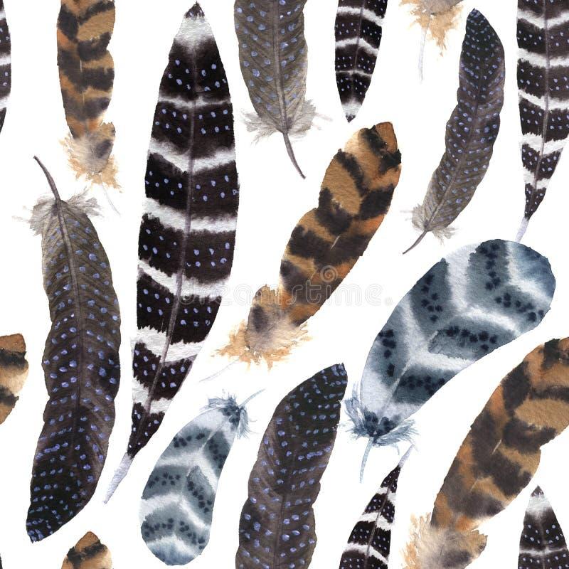 Nahtloses Muster des Aquarells mit dunklen Federn Boho-Verzierung mit Streifen und Tupfenfedern vektor abbildung
