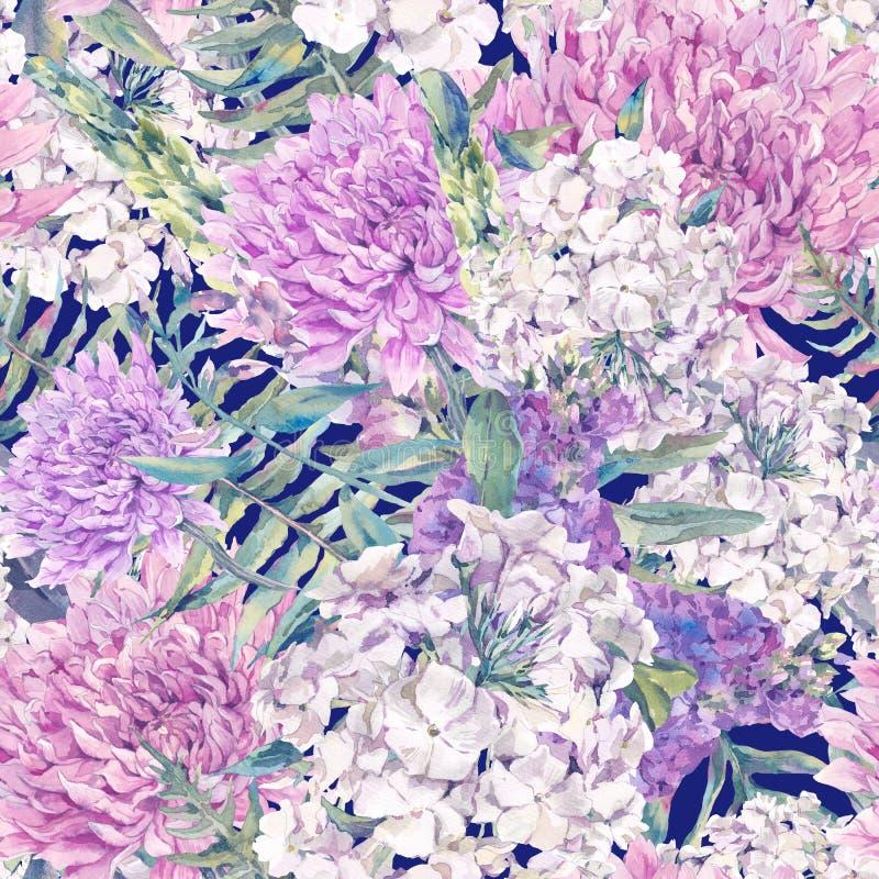 Nahtloses Muster des Aquarells mit einem Blumenstrauß der Chrysantheme vektor abbildung