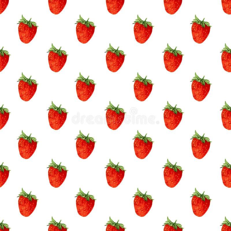 Nahtloses Muster des Aquarells mit Erdbeeren Es kann für Leistung der Planungsarbeit notwendig sein Hand gezeichnete Beschaffenhe stock abbildung