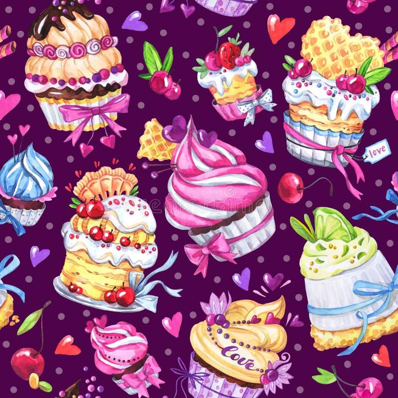 Nahtloses Muster des Aquarells mit geschmackvollen Nachtischen, Kuchen und Beeren Bunter Sommerhintergrund Ursprüngliche Hand gez lizenzfreie abbildung